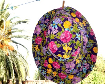 Garden Sun Hat Floral Purple sun Hat SUMMER Beach Hat large brim sun hat Freckles California