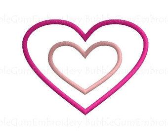 Double Heart Applique Embroidery Design Instant Download