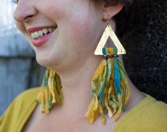 Textile Jewelry, Sari Silk, Boho Jewelry, Dramatic Earrings, Yellow