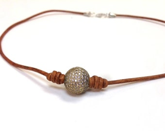14 MM High Quality Hand-Set Swarovski Pave Bead and Leather Necklace - Sopa 1