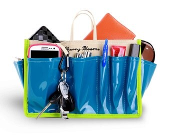 Cherry Blooms Beauty Bag Organizer - Vegas Style - Color Turquoise