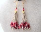 Hemp Earrings Long Seed Bead Tassel Earrings Beaded Handmade Jewellery