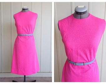 Vintage 1960's Hot Pink Mod Dress Size M/L