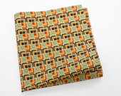 Cotton Pocket Square with squares in brown, latte, orange, and pale blue
