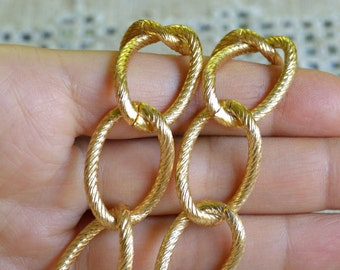 5ft Craft Chain Gold Aluminum Large 27x19x3mm Twisted Oval Links 27mm