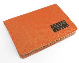 Coral Floral Victorian Passport Wallet - 70's Vintage Upholstery - Passport Holder