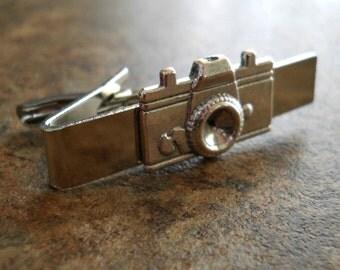 Photobug Men's Camera Tie Bar Clasp in Antiqued Silver By Enchanted Lockets