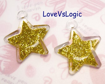 2 Huge Glitter Puff Star Pendant. Abstract Dark Gold Tone