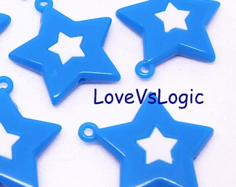 6 Huge Acrylic Star Charms. Blue With White Star.
