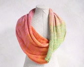Rainbow Sherbet - all natural hypoallergenic summer weight knit infinity scarf knit with cotton and silk