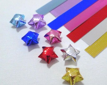 3D Glossy Metallic Striped textured Origami Lucky Star Paper Strips - 280 strips  (complete set of 7 colors for price of 6)