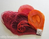 JEWEL -- Red Orange Burgundy Peacock Feather & Rhinestone Wedding Prom Hair Clip Fascinator Headpiece, Perfect for the Bride and Bridesmaids
