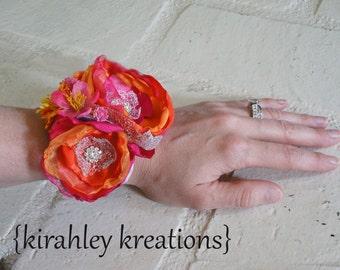 ILA Wristlet -- Handmade Flower Rhinestone Wrist Cuff Bracelet Corsage Pin Prom Wedding Bridesmaid Bride Gift - Customizable in YOUR Colors