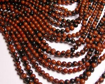 Mahogany Obsidian 4 mm A quality - 88 beads per strand - full strand - RFG1142