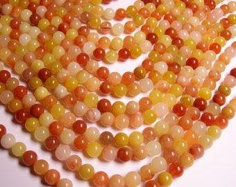 Orange Jade 8mm round - A quality - 50 beads per strand -  1 full strand - Natural - RFG356
