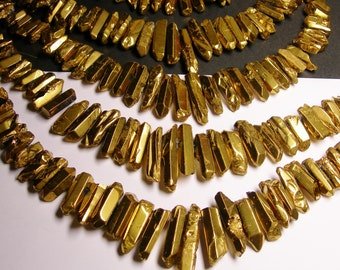 Quartz crystal points -  mystic gold points -  top drilled - Full strand - 35 pcs - PQM4