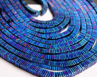 Hematite mystic blue - 4mm x 1mm heishi square slice beads - full strand - 400 beads - A quality - PHG16