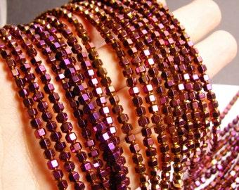 Hematite purple - 4 mm faceted hexagon  beads -1 full strand -98 beads - AA quality - PHG39