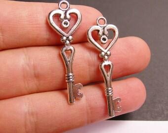 12 silver key charms - silver tone key charms  - 12 pcs -  ASA119