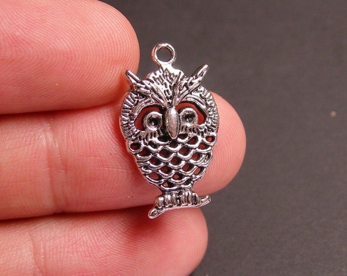 12 owl charms -  12 pcs - owl silver tone charms - ASA47