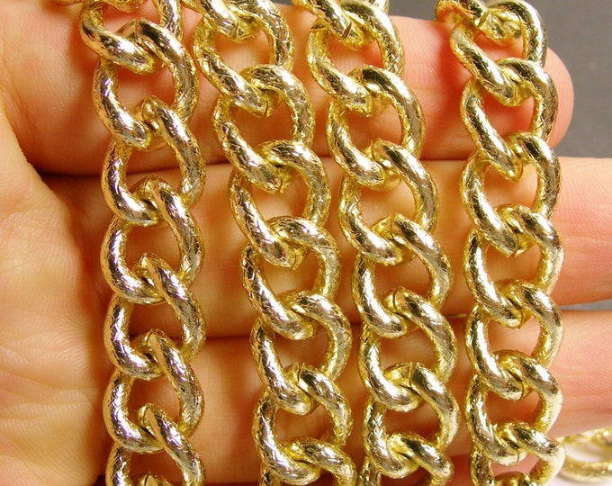 Gold chain -  twisted cable chain - 1 meter - 3.3 feet - aluminum chain - etching - NTAC90