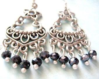 Flower Chandelier Earrings, Dangle Earrings, Chandelier Dangle Earrings - Iceblues