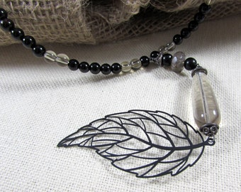 Black Leaf Onyx and Smokey Quartz Beaded Necklace