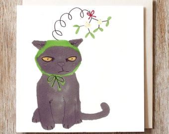 Cat Christmas Card Black Cat In Mistletoe Hat Holiday Pack Of Six