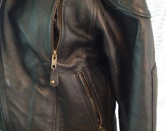 SALE Black Leather Biker Jacket with Multiple Zips Size S  Biker Chic!