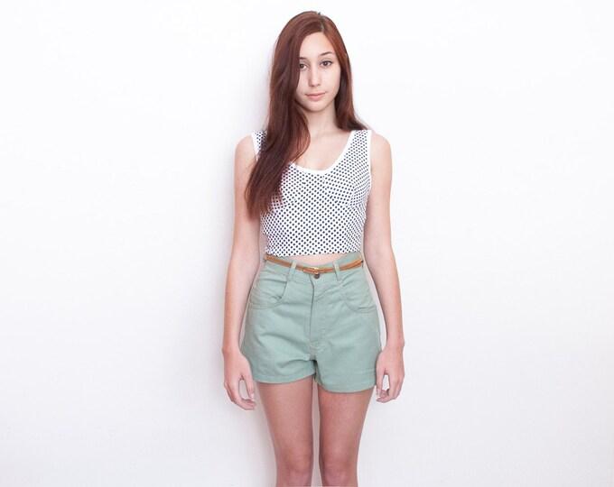 Dead stock Vintage Denim Shorts pastel green high waist Size w28