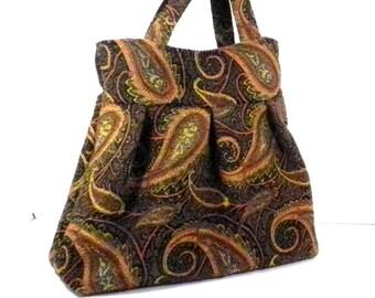 Shoulder Bag, Black and Gold, Tapestry Fabric, Large Purse, Large Bag, Diaper Bag