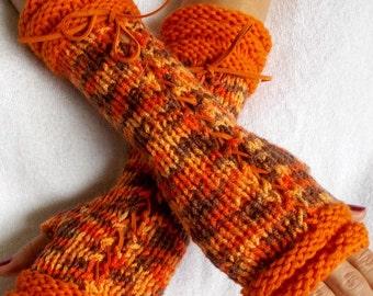 Women Fingerless Corset Gloves Arm Warmers Orange Brown Acrylic