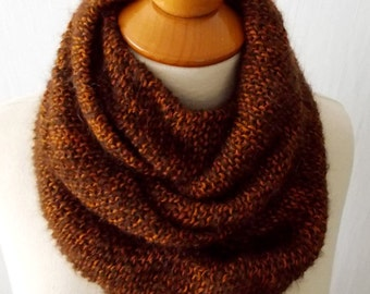 Infinity Cowl Scarf Chunky Circle Scarf  In Copper Brown Warm Soft Merino Kid Mohair
