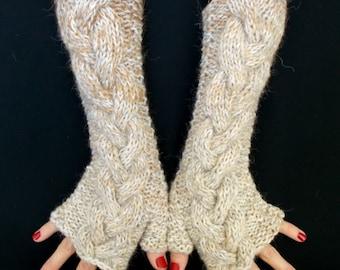 Fingerless Gloves Wrist Warmers Beige  Light Brown Cabled