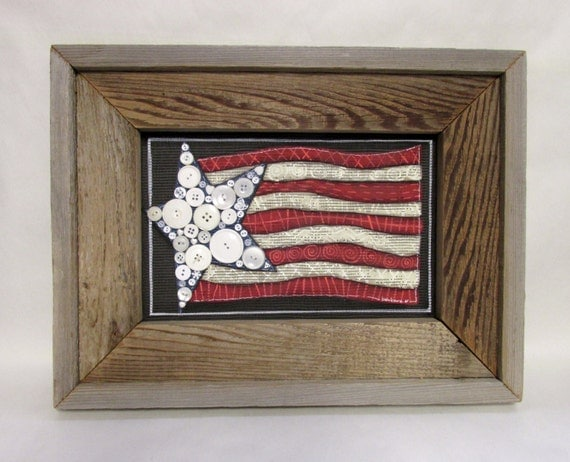 Patriotic Americana Flag, Framed in Barn Wood, Rustic Barn Wood Frame, Primitive Frame, Folk Art American Flag, Red, White and Blue Theme