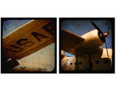 Rustic Wall Art - Air Force Collection - Vintage Airplane Photography, WWII, Aviation Art, Set of 2, blue, sepia, black, turquoise