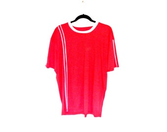 Vintage 1970's Red T-Shirt with Asymmetrical White Piping Stripe and White Collar and Cuffs Men's XL