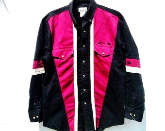 Vintage Southwestern Men's Medium Button-Down Shirt with Color-Blocked Striping and Navajo Stitching on Sleeve