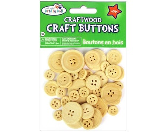 Wooden Buttons Craft Buttons Unfinished Natural Wood Button Bulk