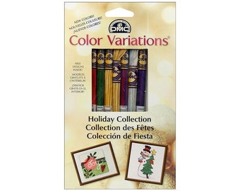 Embroidery Floss DMC  Variations Variegated Colors 8 Skeins Holiday Cross Stitch  Needlepoint  Christmas