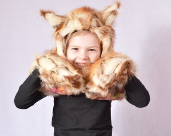 Childrens Faux fur Flying Squirrel Hat with scarf and Paw pockets