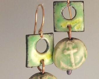 SALE! Enamel and Raku Earrings - Lime Anchor