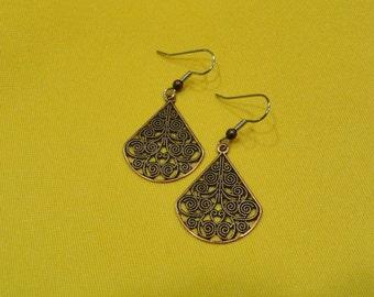 Miss Fancypants antique copper filigree earrings (Style #422)