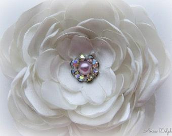 Wedding Hair Flower, Ivory Satin Ranunculus Hair Flower, Bridal Accessory