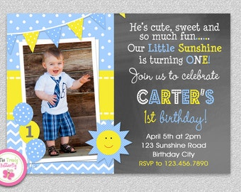 Boys Sunshine Birthday Invitation , You are my Sunshine Birthday Party Invitation
