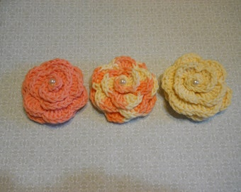 Crochet  Applique Roses Set of 3 with Foux Pearl in the Center