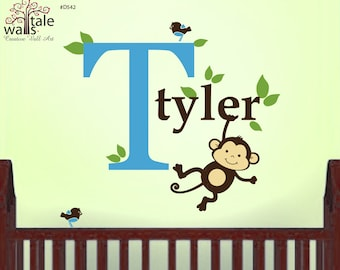 Boy Monkey Initial Name wall decal with little birds and leaves for girl or boy nursery. Jungle Name wall decal. d542