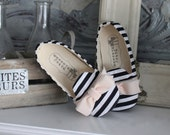 Black and White Baby Shoes Toddler Girl Shoes Soft Sole Shoes Infant Shoes Striped Shoes Black Shoes White Shoes- Harlow