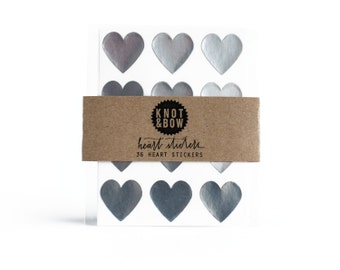144 Silver Heart Stickers / FREE SHIPPING