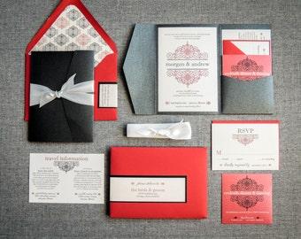 """Gothic Wedding Invitation, Black and Red Wedding Invitations, Elegant Wedding Invites, Valentines Day Wedding - """"European Scroll"""" PF-NL-v1"""